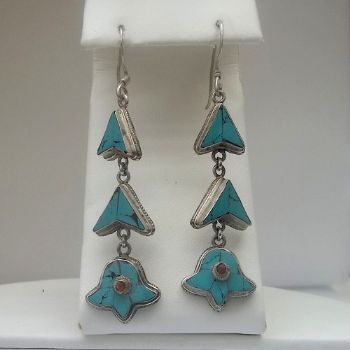 Traditional Indian Turquoise Dangly Earrings